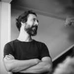 Storyteller Aaron Henkin in a black-and-white photo