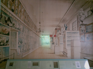 A mural of what the inside of the Peale Museum looked like in the 19th century
