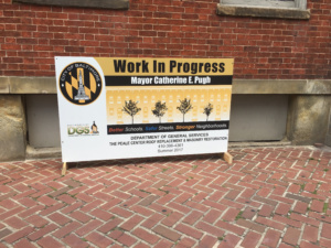 A sign outside the Peale Center reads that the building is under renovation.