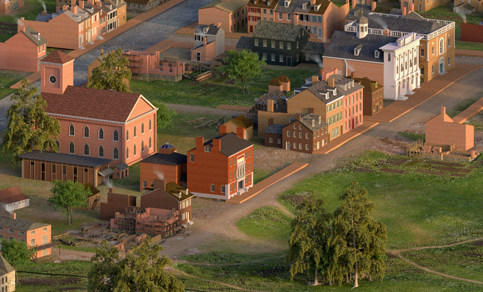 The Peale Center, ca. 1814, shown in a reconstructed model in the context of a larger cityscape.