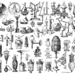 A black and white drawing dozens of types of gaslights