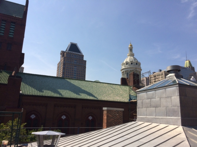 The new Peale Center roof takes its place among the iconic towers of Baltimore, from left: Zion Church, Commerce Place, City Hall, 10 Light St.